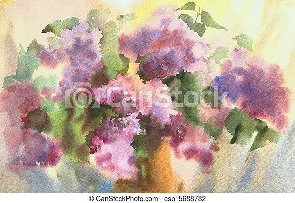 Watercolor painting of the beautiful flowers. - csp15688782