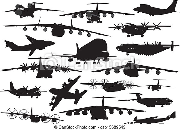EPS Vector of Transport aviation - Transport aircraft silhouettes ...