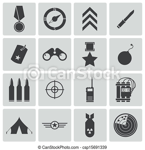 Vector black  military icons set - csp15691339
