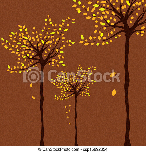 Autumn background with trees and falling leaves  - csp15692354