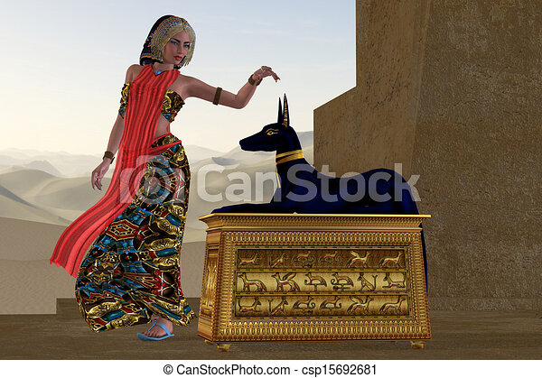 Woman Statue Logo Egyptian Woman And Anubis