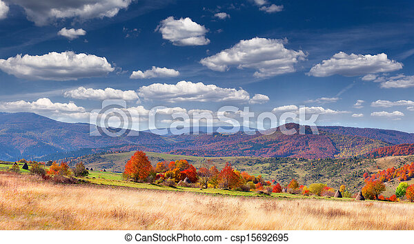 Colorful autumn panorama in the mountain village - csp15692695