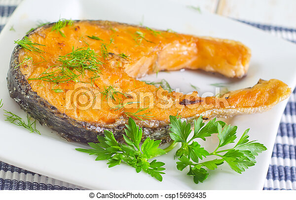 fried salmon - csp15693435