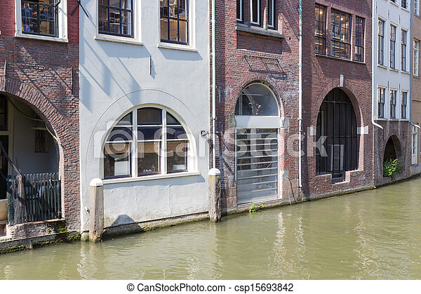 Historic canal houses in medieval city Utrecht of the Netherlands - csp15693842