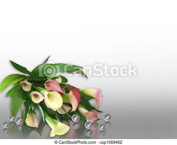 Perles, lis,  calla, conception, coin - csp1569462