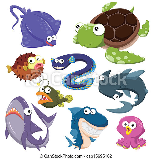 cartoon sea animal illusration collection - csp15695162