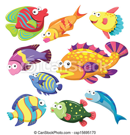 cartoon sea animal illusration collection - csp15695170