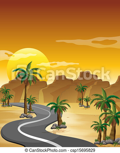 Vector Illustration of A desert with a long and winding road ...