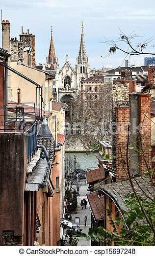 Aerial view of Lyon, France - csp15697248