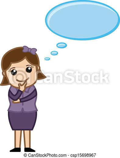 clip art vector of cartoon businesswoman thinking woman Man Thinking Clip Art People Thinking Clip Art