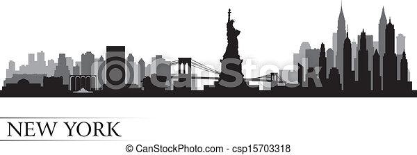 New York city skyline detailed silhouette - csp15703318