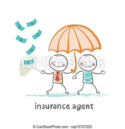 insurance agent protects human umbrella and collects a net cash - csp15707223