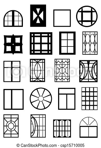 Vector clipart of window frames different types of for Contour de fenetre