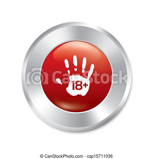 Adults only hand button. Age limit. Isolated. - csp15711036