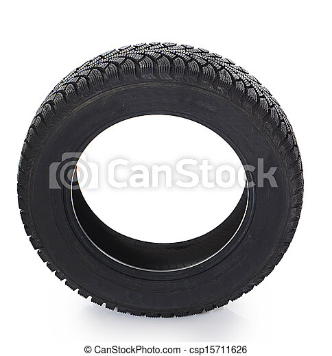 The automobile tire isolated on white - csp15711626