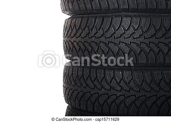 The automobile tire isolated on white - csp15711629