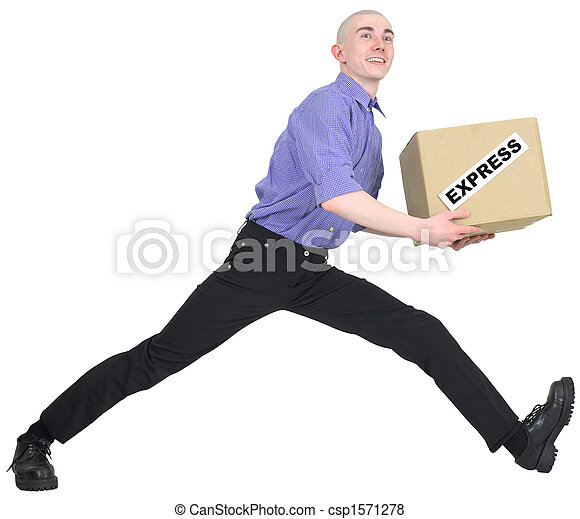 Man to hurry to deliver box - csp1571278