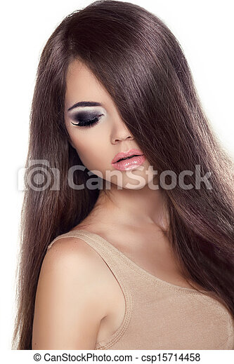 Beauty Girl Portrait. Fashion Model Woman with Long Healthy Brown Hair. Isolated on white background. Professional Makeup.  - csp15714458