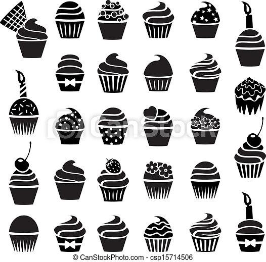Image Graphique Cup Cake En Noir Et Blanc