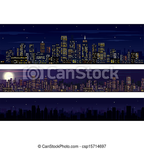 City Skyline. Collection of Night Skyline - csp15714697