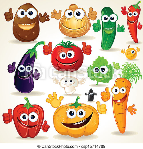 Funny Cartoon Vegetables Clip Art - csp15714789