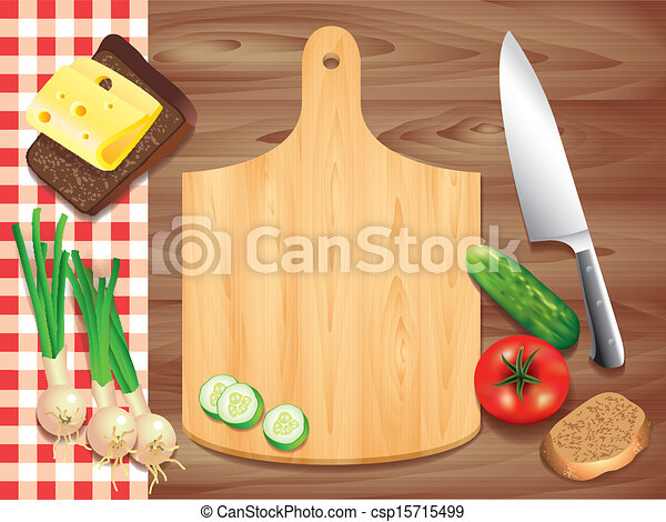 Eps Vectors Of Cutting Board On Wooden Table Food Ingredients Top View Csp15715499 Search Clip Art Illustration Drawings And Images