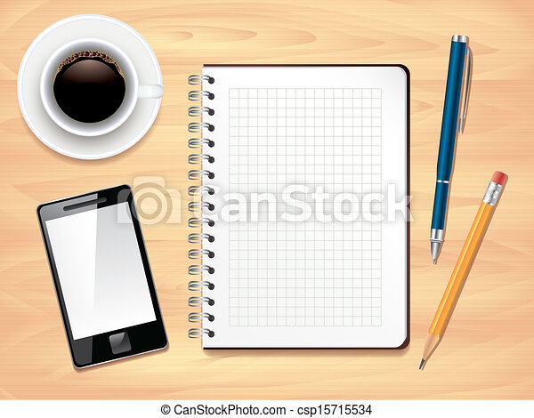 Notepad on office desk top view, photo realistic vector - csp15715534