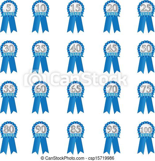 Blue Anniversary Ribbon - csp15719986