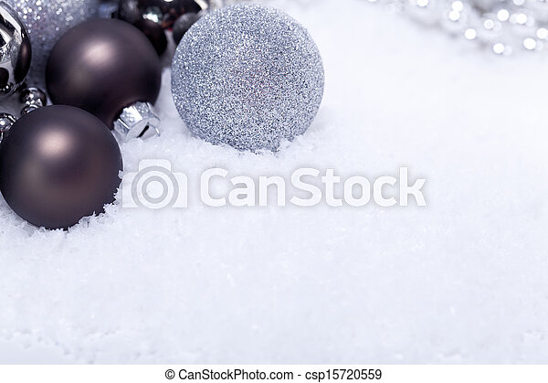 glitter silver christmas baubles decoration holidays isolated - csp15720559