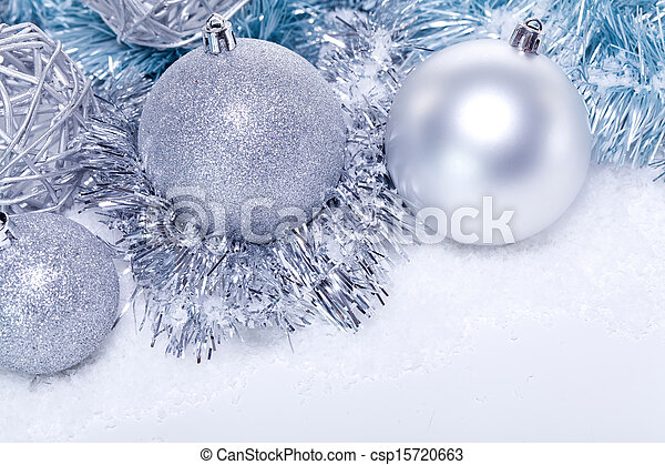 glitter silver christmas baubles decoration holidays isolated - csp15720663