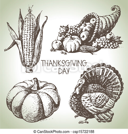 Thanksgiving Day set. Hand drawn vintage illustrations - csp15722188