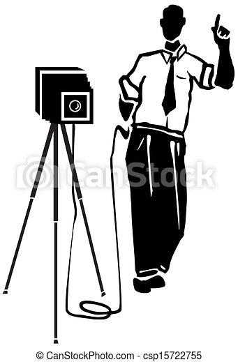 Clipart Vector of film camera director - Vintage movie television ...