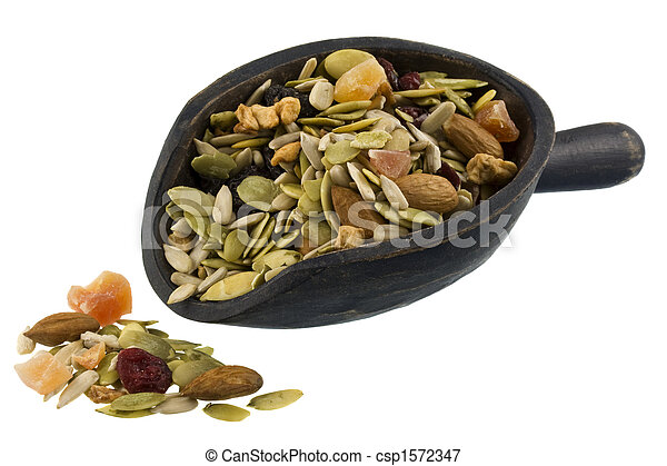 pile and scoop of healthy trail mix  - csp1572347