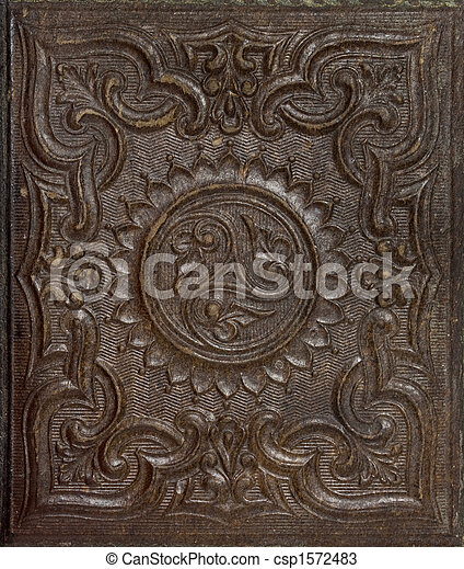 antique stamped gutta-percha background with floral patterns - csp1572483