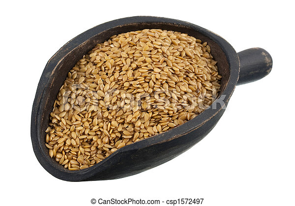 scoop of golden flax seeds - csp1572497
