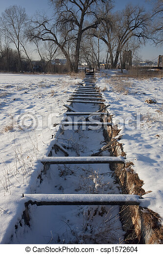 old abandoned irrigation ditch flume - csp1572604