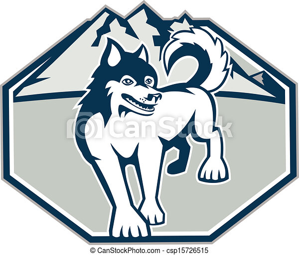 Vector Clip Art of Siberian Husky Dog Mountain Retro ...