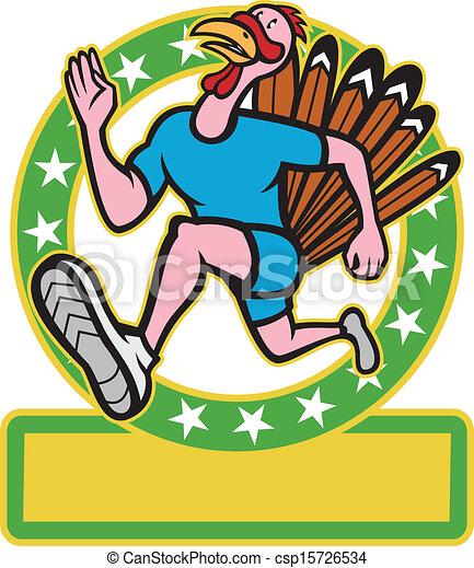 矢量-火鸡, 跑, 跑的人, 边, 卡通漫画