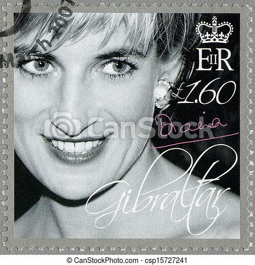 GIBRALTAR - CIRCA 2007 : A stamp printed in Gibraltar shows Diana (1981-1997), Princess of Wales Tribute, circa 2007 - csp15727241