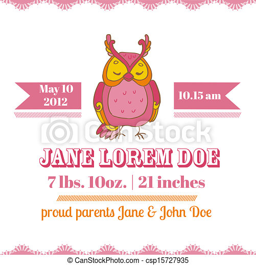 Baby Shower or Arrival Cards - Owl Theme - with place for your text - in vector - csp15727935