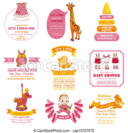 Set of Baby Shower and Arrival Cards - with place for your text - in vector - csp15727972