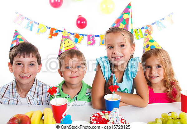 Kids with birthday cake - csp15728125