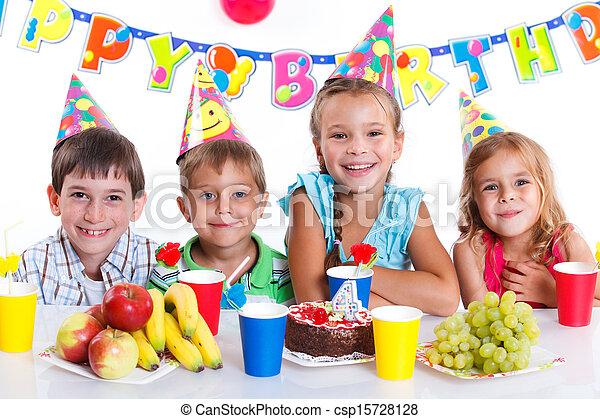 Kids with birthday cake - csp15728128