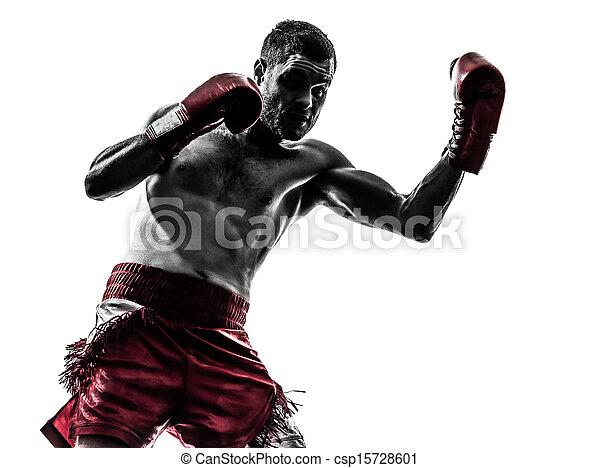 one man exercising thai boxing silhouette - csp15728601