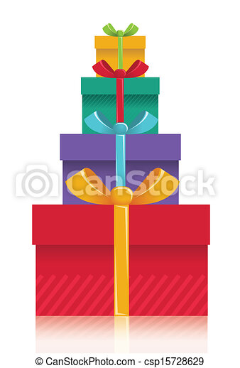 Gift boxes background.Vector color presents illustration for design isolated on white - csp15728629