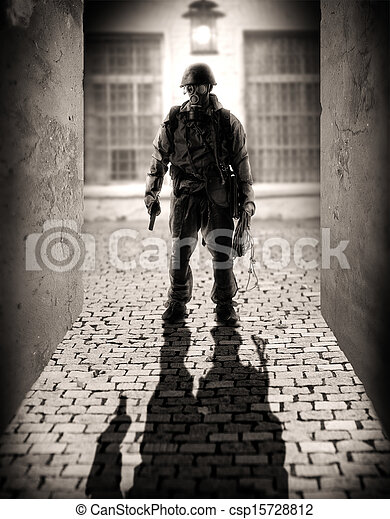 farlig, män, silhuett, militär - csp15728812