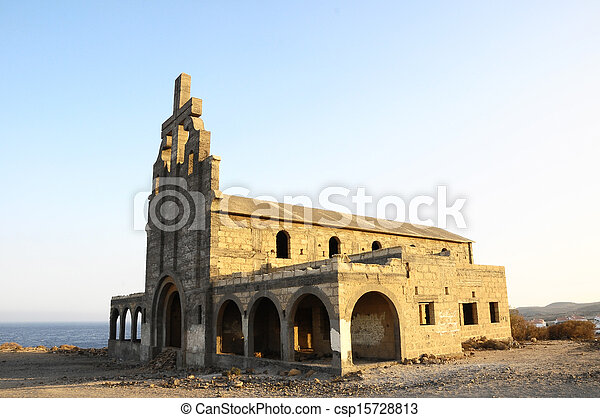 An Old Abandoned Church on a Military Base - csp15728813