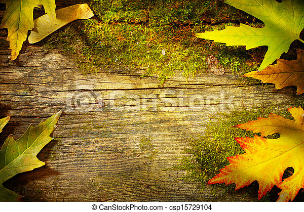 art autumn leaves on  old wood background  - csp15729104