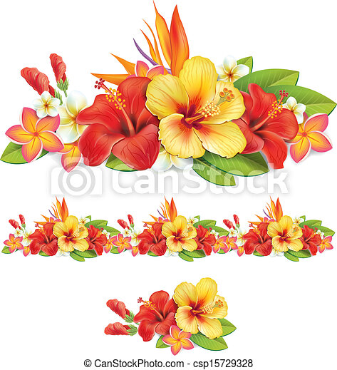 Garland of of tropical flowers - csp15729328