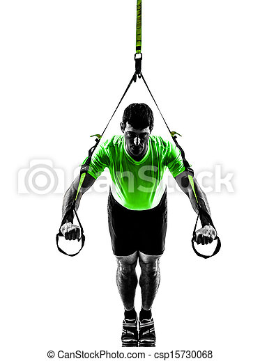 man exercising suspension training  trx silhouette - csp15730068